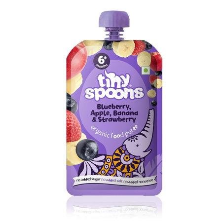 Tiny Spoons Organic Baby Food Puree Blueberry Apple Banana & Strawberry - 120gm-0