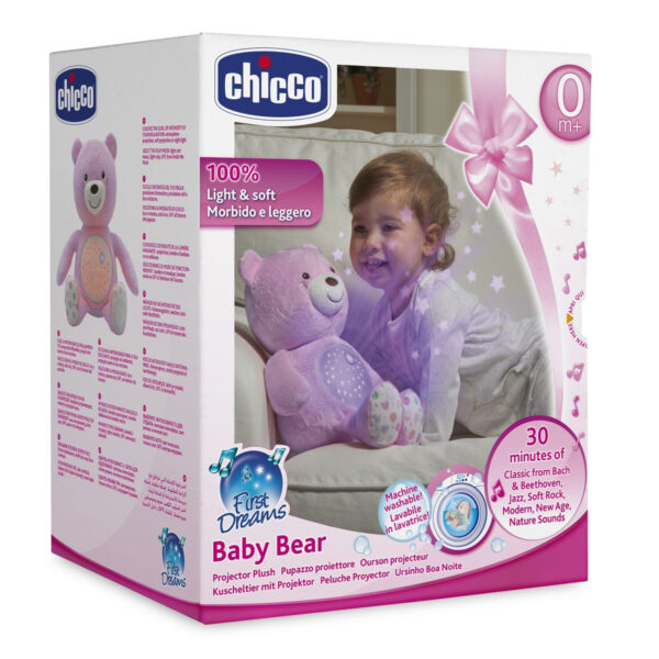 Chicco First Dreams Baby Plush Teddy Bear, Musical Night Light - Pink-31225