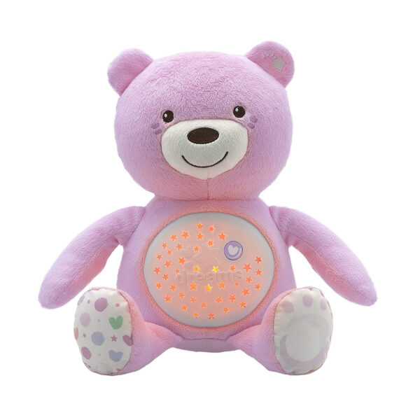 Chicco First Dreams Baby Plush Teddy Bear, Musical Night Light - Pink-0