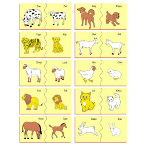 Kinder Creative Wooden Painted Puzzle - Animal and Their Babies (20 Pieces)-0
