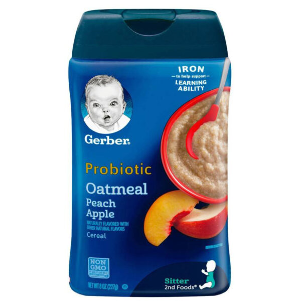Gerber Baby Probiotic Oatmeal & Peach Apple Cereal (8M+) - 227gm-0