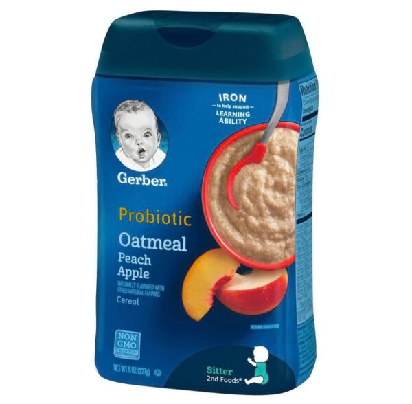 Gerber Baby Probiotic Oatmeal & Peach Apple Cereal (8M+) - 227gm-32067