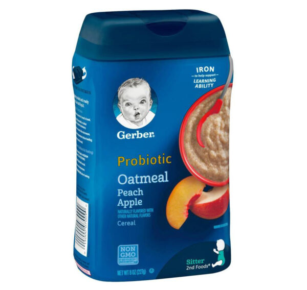 Gerber Baby Probiotic Oatmeal & Peach Apple Cereal (8M+) - 227gm-32068