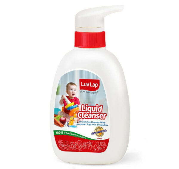 LuvLap Baby Bottles, Accessories and Vegetable Liquid Cleanser - 500ml-0