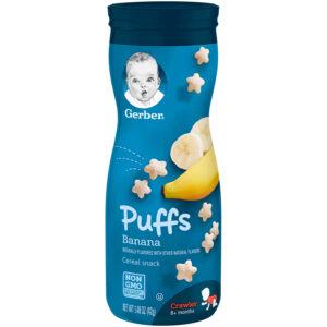 Gerber Graduates Puffs Cereal Snack - Banana -0