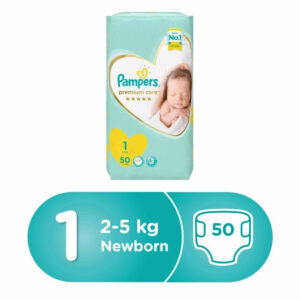 Pampers Premium Care Diapers, Size 1, Newborn, 2-5 kg, Mid Pack, 50 Count-0