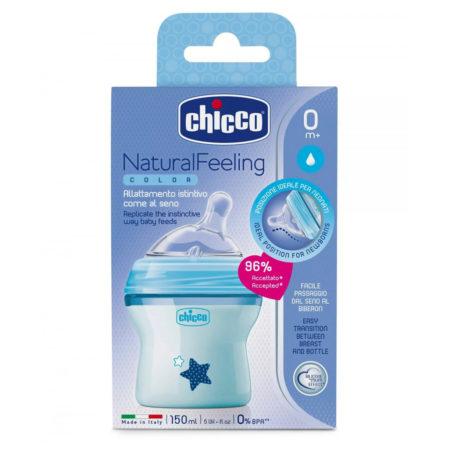 Chicco Natural Feeling Feeding Bottle, Blue - 250ml -0