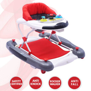 R for Rabbit Ringa Ringa Baby Walker - The Anti Fall Baby Walker Cum Rocker - (Red White)-0