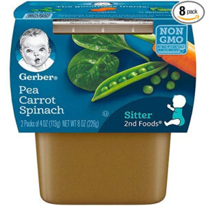 Gerber 2nd Foods Pea Carrot Spinach Baby Food, 4 Ounce Tubs, 2 Count -0