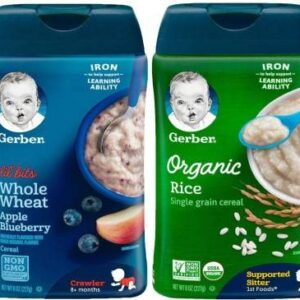 Gerber Cereal Pack of 2 - Lil Bits Whole Wheat Apple Blueberry + Organic Rice Cereal Cereal (454 g)-0